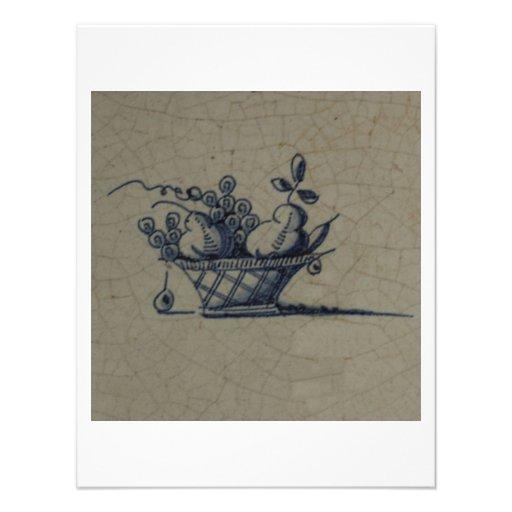 Classic Antiquarian Delft Blue Tile - Fruit Basket Custom Announcement