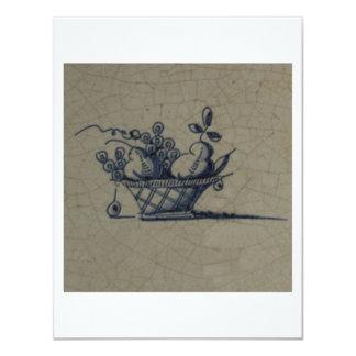Classic Antiquarian Delft Blue Tile - Fruit Basket 4.25x5.5 Paper Invitation Card