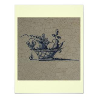"Classic Antiquarian Delft Blue Tile - Fruit Basket 4.25"" X 5.5"" Invitation Card"