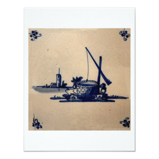"""Classic Antiquarian Delft Blue Tile - Water Well 4.25"""" X 5.5"""" Invitation Card"""