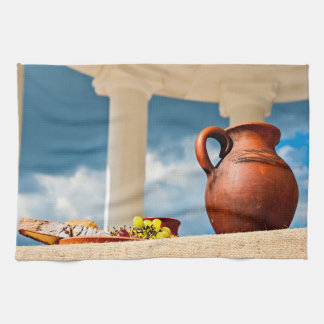 Classic antique still-life with a pitcher kitchen towel