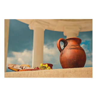 Classic antique still-life with a pitcher wood wall decor