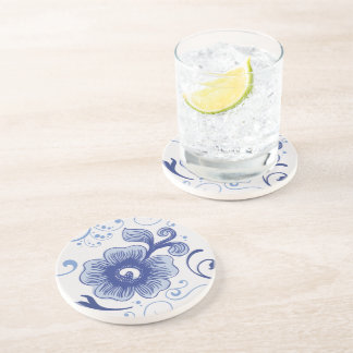 Classic Antique Style Blue Flower Pattern Coaster