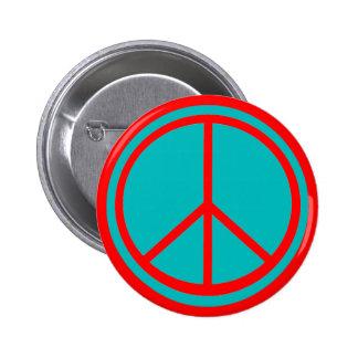 Classic Aqua Blue Peace Sign 2 Inch Round Button