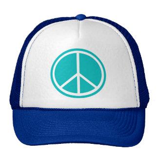 Classic Aqua Blue Peace Sign Trucker Hat