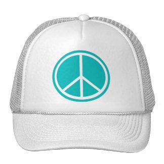Classic Aqua Blue Peace Sign Mesh Hat