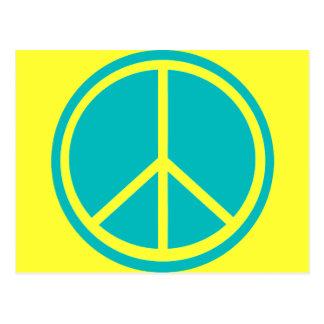 Classic Aqua Blue Peace Sign Post Card