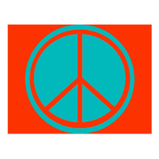 Classic Aqua Blue Peace Sign Postcard