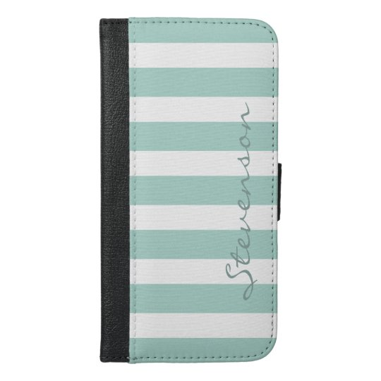 Classic Aqua Mint Stripes - Personalized Name