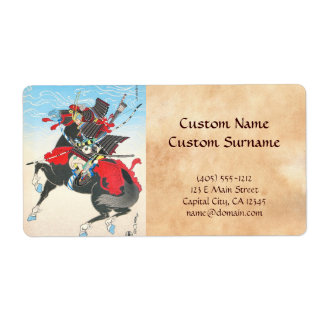 Classic armored Samurai warrior riding a horse art Shipping Label