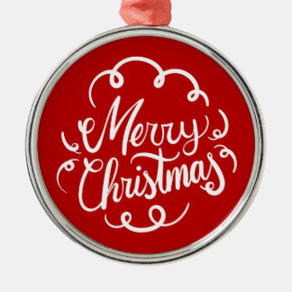 Classic Art Deco Merry Christmas Typography Metal Ornament