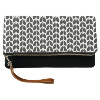 Classic B&W Lung Patterned Fold Over Clutch