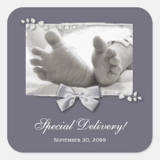 Classic Baby Feet Elegant Birth Announcement Square Sticker