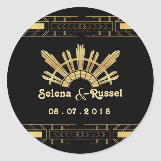 Classic Beauty Art Deco Wedding Seal Round Sticker