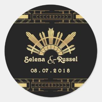 Classic Beauty Art Deco Wedding Seal Round Sticker