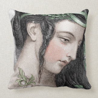 Classic Beauty With Leafy Headband Throw Pillow