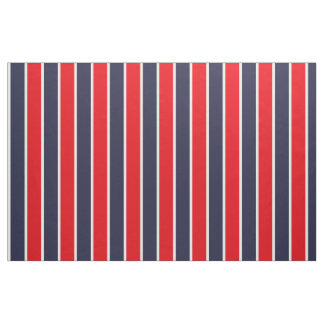Classic Big Bold Red Blue White Stripes Pattern Fabric