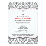 "Classic Black and Red Nurse graduation pinning 5"" X 7"" Invitation Card"