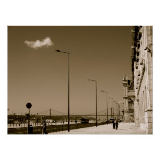 Classic Black and White City Street in Lisbon Poster
