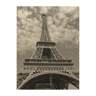 Classic Black and White Eiffel Tower Wood Print