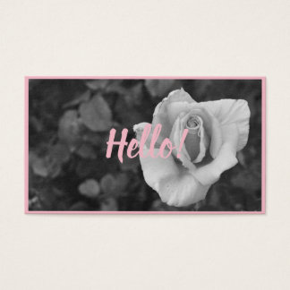 Classic Black and White Floral Business Card