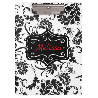 Classic Black and White Floral Clipboard