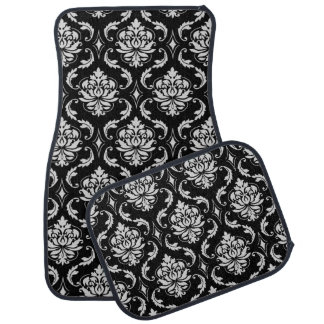 Classic Black and White Floral Damask Pattern Car Liners