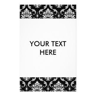 Classic Black and White Floral Damask Pattern Personalized Flyer