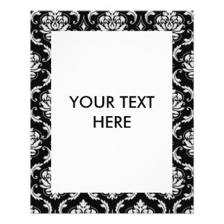 Classic Black and White Floral Damask Pattern Full Color Flyer