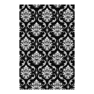 Classic Black and White Floral Damask Pattern Flyer