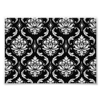 Classic Black and White Floral Damask Pattern Photo