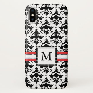 Classic Black and White French Damask Monogram iPhone X Case