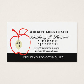Classic Black and White Fruit Weight Loss Coach Business Card