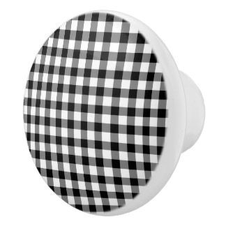 Classic Black And White Gingham Checked Pattern Ceramic Knob