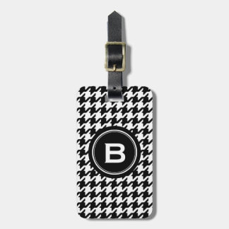 Classic black and white houndstooth with monogram luggage tag