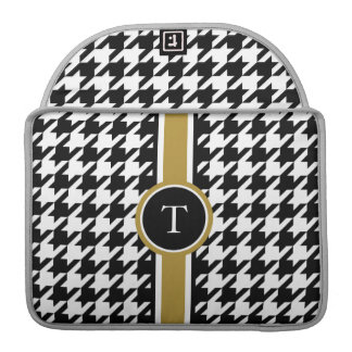 Classic black and white houndstooth with monogram MacBook pro sleeve