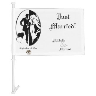 Classic Black and White Just Married Car Flag
