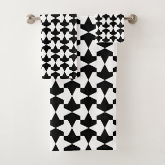 Classic Black and White Mamluks Pattern Bath Towel Set
