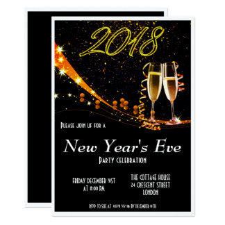 Classic Black and White New Year`s Eve Invite