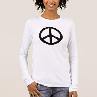 Classic Black and White Peace Symbol Personalized Long Sleeve T-Shirt