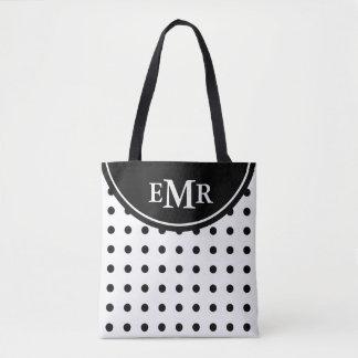 Classic Black and White Polka Dot Monogram Tote Bag