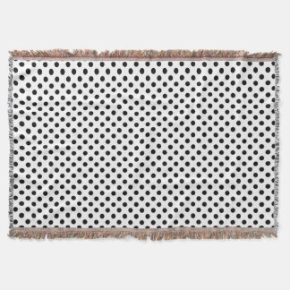 Classic Black and White Polka Dot Pattern Throw Blanket