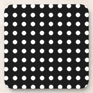 Classic black and white polka dots coaster