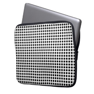 Classic Black and White Polka Dots Pattern Laptop Computer Sleeves