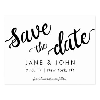 Classic Black and White Save the Date Postcard
