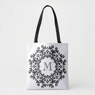 Classic Black and White Scroll Wreath Monogram Tote Bag