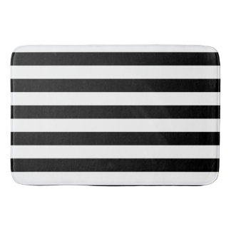Classic Black and White Striped Pattern Bath Mat