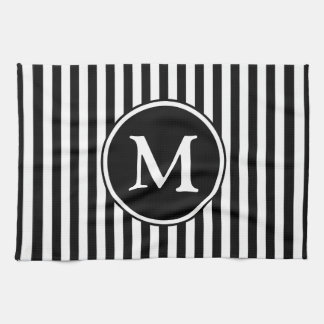 Classic Black And White Stripes Pattern Monogram Kitchen Towel