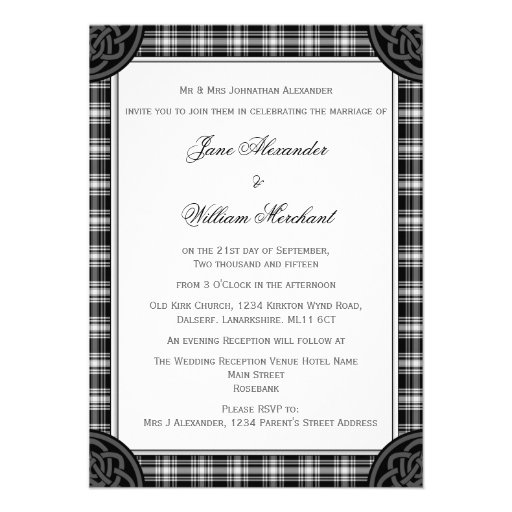 Classic Black and White Tartan Plaid Wedding Personalized Invites
