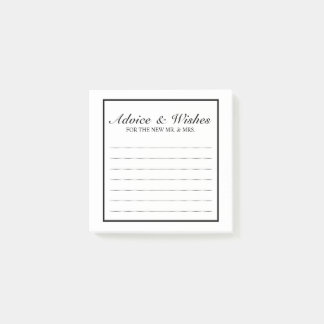 Classic Black and White Wedding Advice and Wishes Post-it® Notes
